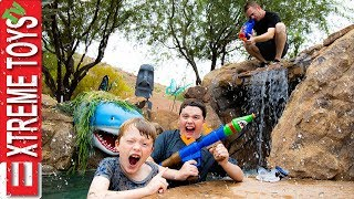 Sneak Attack Squad Moving Day Nerf Battle in a  Lazy River Vs. Dad!
