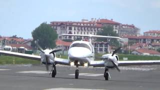 Diamond DA62 (F-HLRA) RW04 take-off San Sebastian airport (EAS/LESO)