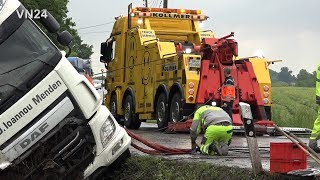 28.05.2019 - VN24 - Difficult salvage of a slipped semi-trailer truck