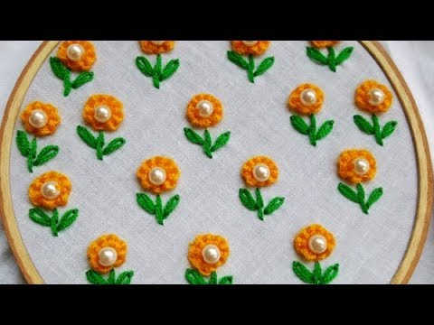 Hand Embroidery All Over Design /Easy All Over Design For Kurti/ Kamiz!!!