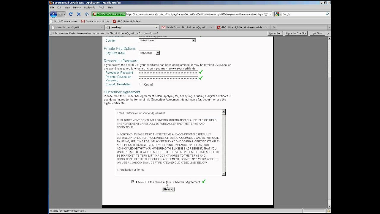 Bitcoinid How To Install A Comodo Class 1 Smime Certificate Youtube