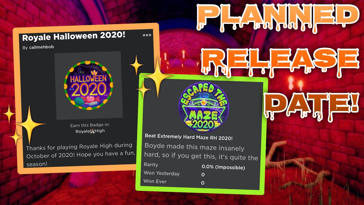 Which Mazes Will Be At   Halloween 2020 HALLOWEEN UPDATE RELEASE DATE PLAN! NEW MAZE AND BADGES! Royale