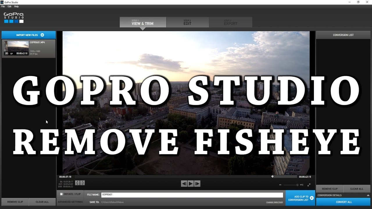 How to Remove Fisheye in GoPro Studio | GoPro Tutorial for Beginners