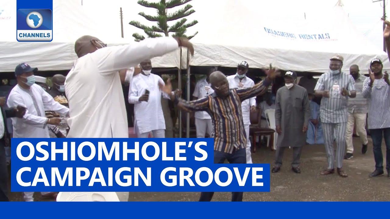 Oshiomhole, Ize-Iyamu Dance At Campaign Meeting With Edo Traditional Rulers  - YouTube