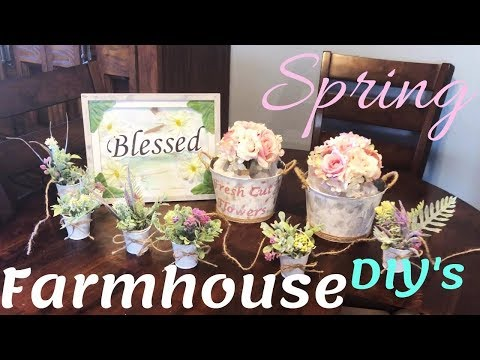 4 Spring Farmhouse DIY's | Home Decor from Dollar Tree Under $10 | Including Hanging Wreath