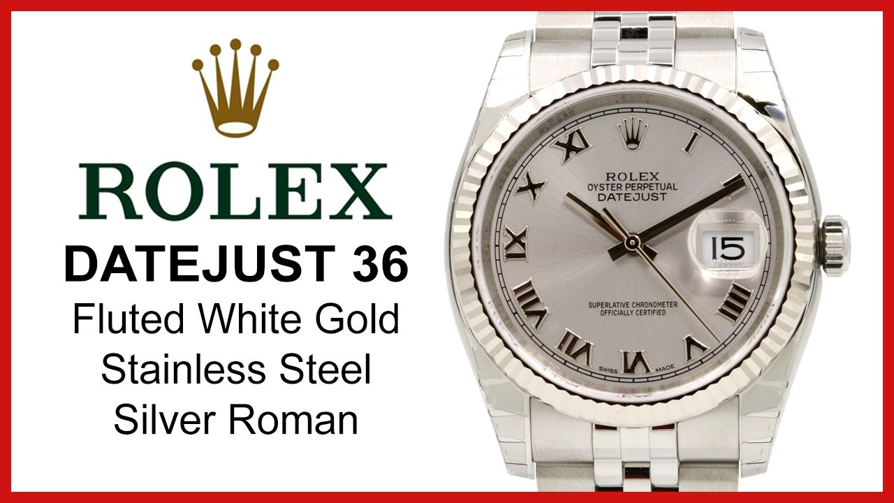 Rolex datejust 36 silver roman dial fluted gold bezel stainless steel jubilee review for Rolex date just 36