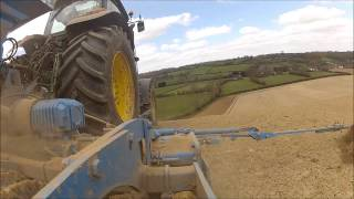 Drilling on a bit of steep-John Deere 6210r takes  it with ease