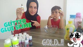 GOLD RENGİNDE GLİTTER GLUE SLİME YAPTIK-M.EYMEN TV