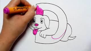 how to draw alphabet D with dog cartoon