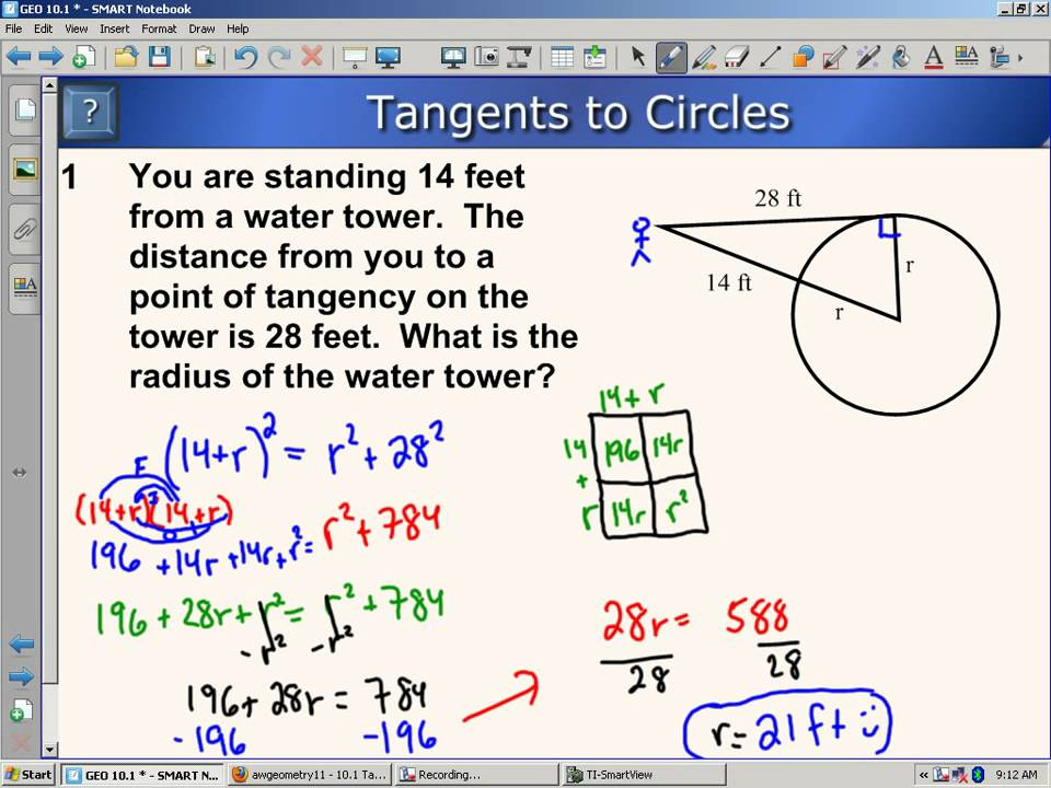 Tangents of Circles and angles (solutions, examples, videos)