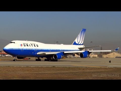 HD RARE United Airlines Boeing 747-422 Tulip CLOSE UP Takeoff From San Jose International Airport