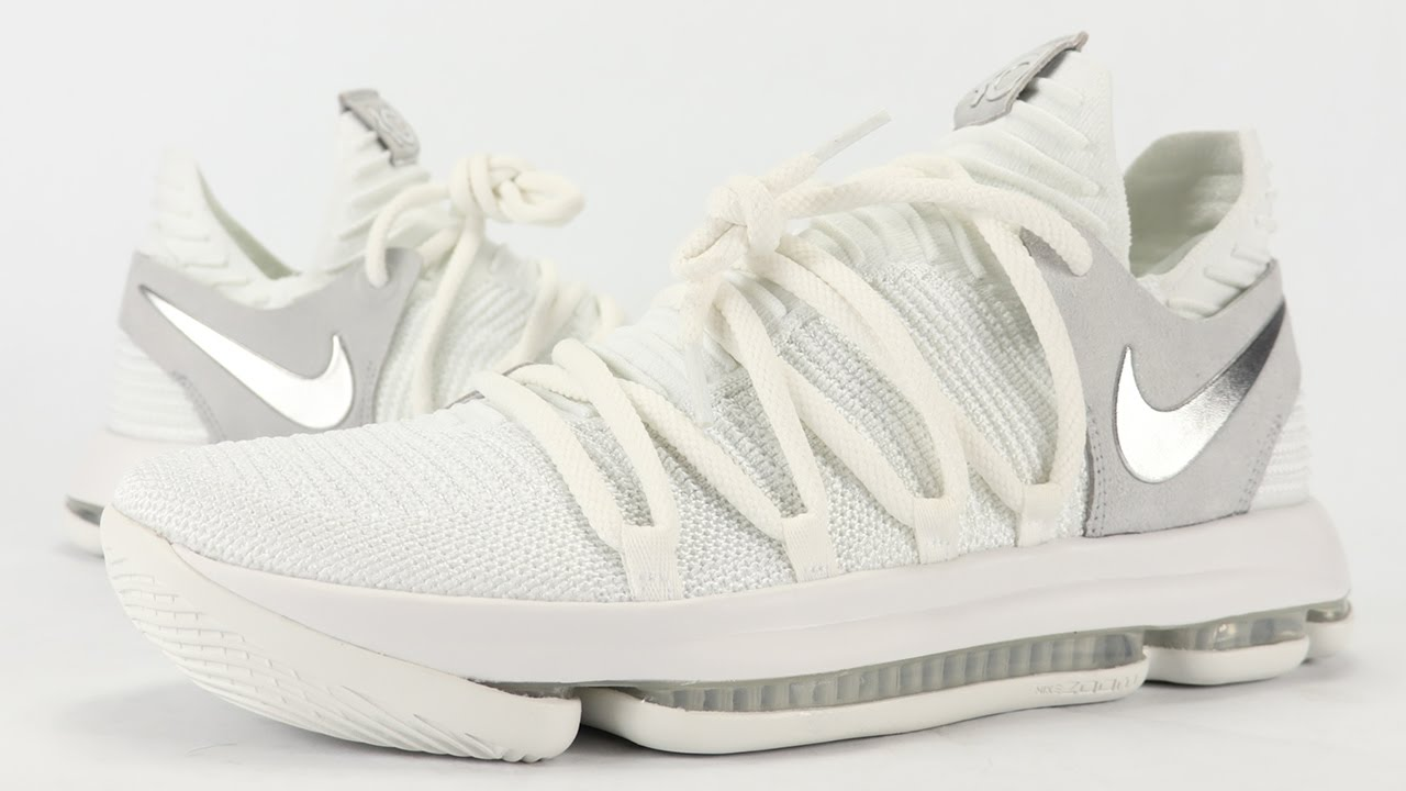 the latest db735 1d11f Nike KD 10 White Chrome STILL KD Review, On Feet + Unboxing