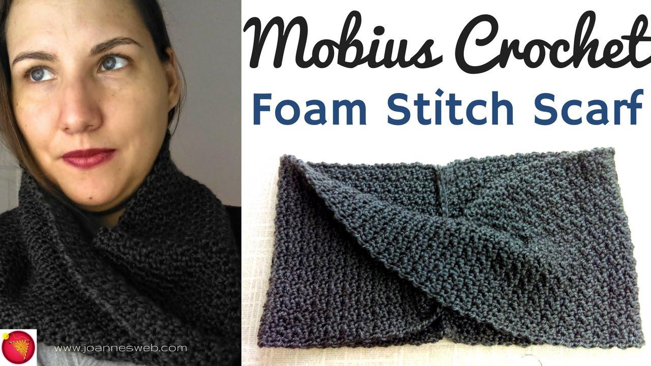 Mobius Foam Stitch Crochet Scarf - YouTube