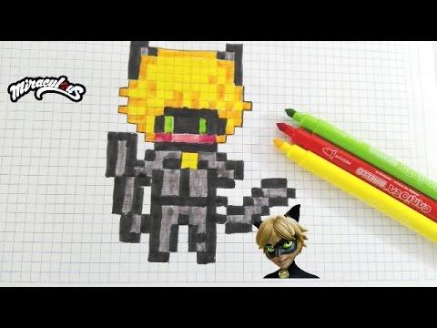 Cat Noir Miraculous Pixel Art Handmade Pixel Art Youtube