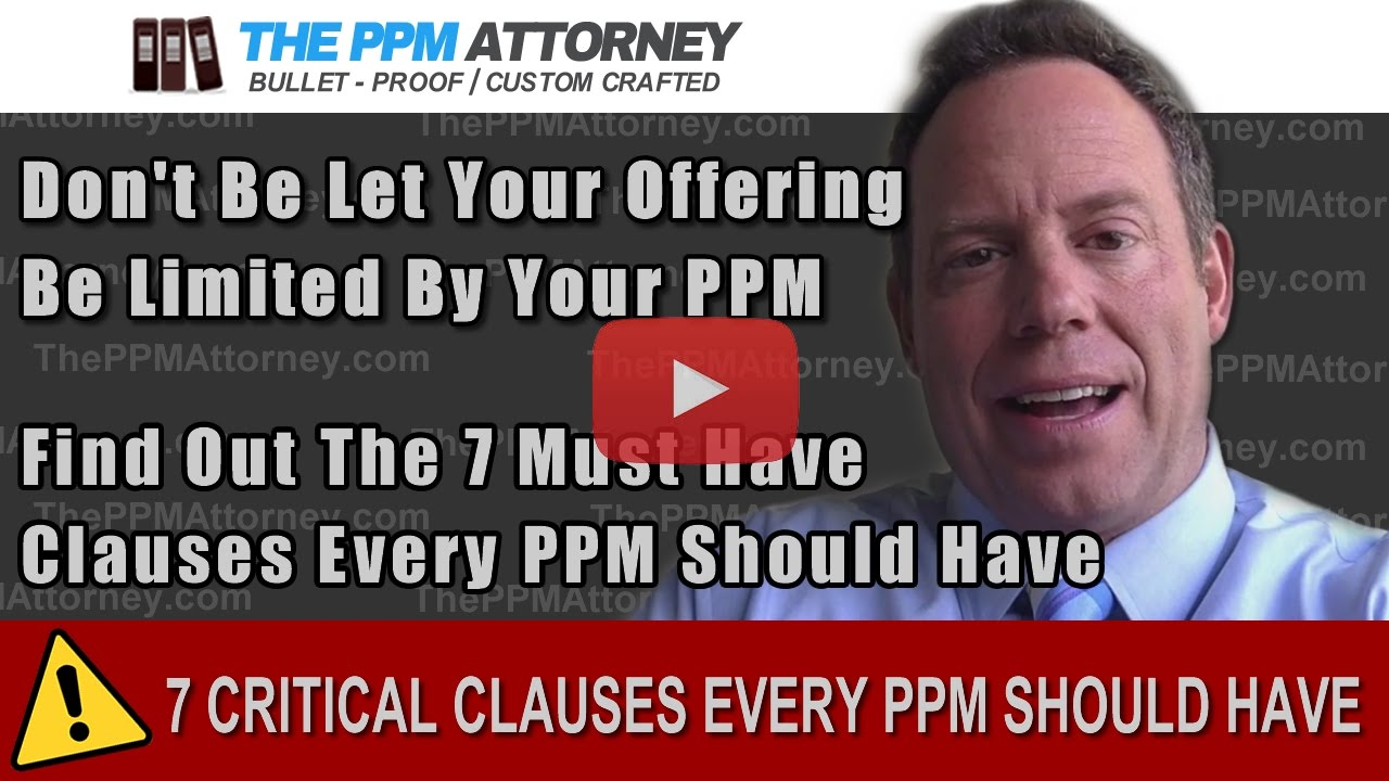 The 7 Critical Clauses Every Private Placement Memorandum Should Have PPM  Attorney Darin Mangum