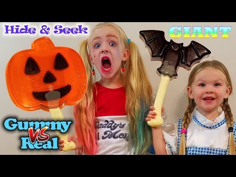 Gummy Candy vs Real Hide & Seek Challenge!!! GIANT GUMMI FOOD!