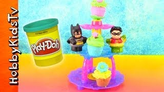 PLAY-DOH Cupcake Tower Set! Batman Eats Cake Patrick Star Play-Doh Plus Whipped Cream by HobbyKidsTV