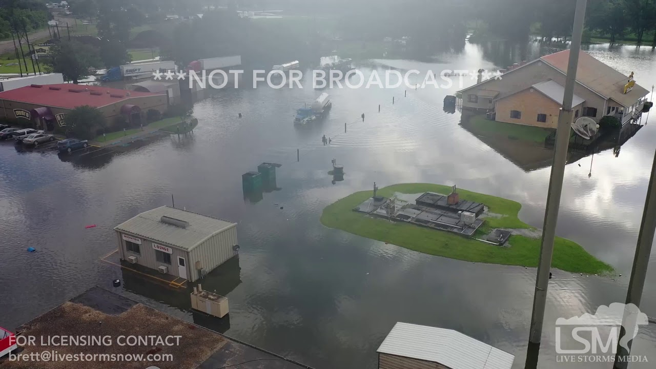 6-6-2019 Henderson, La flash flooding from drone shows huge area of town  under water