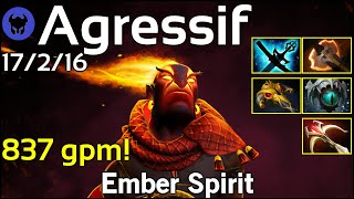 837 gpm! Agressif plays Ember Spirit!!! Dota 2 7.20