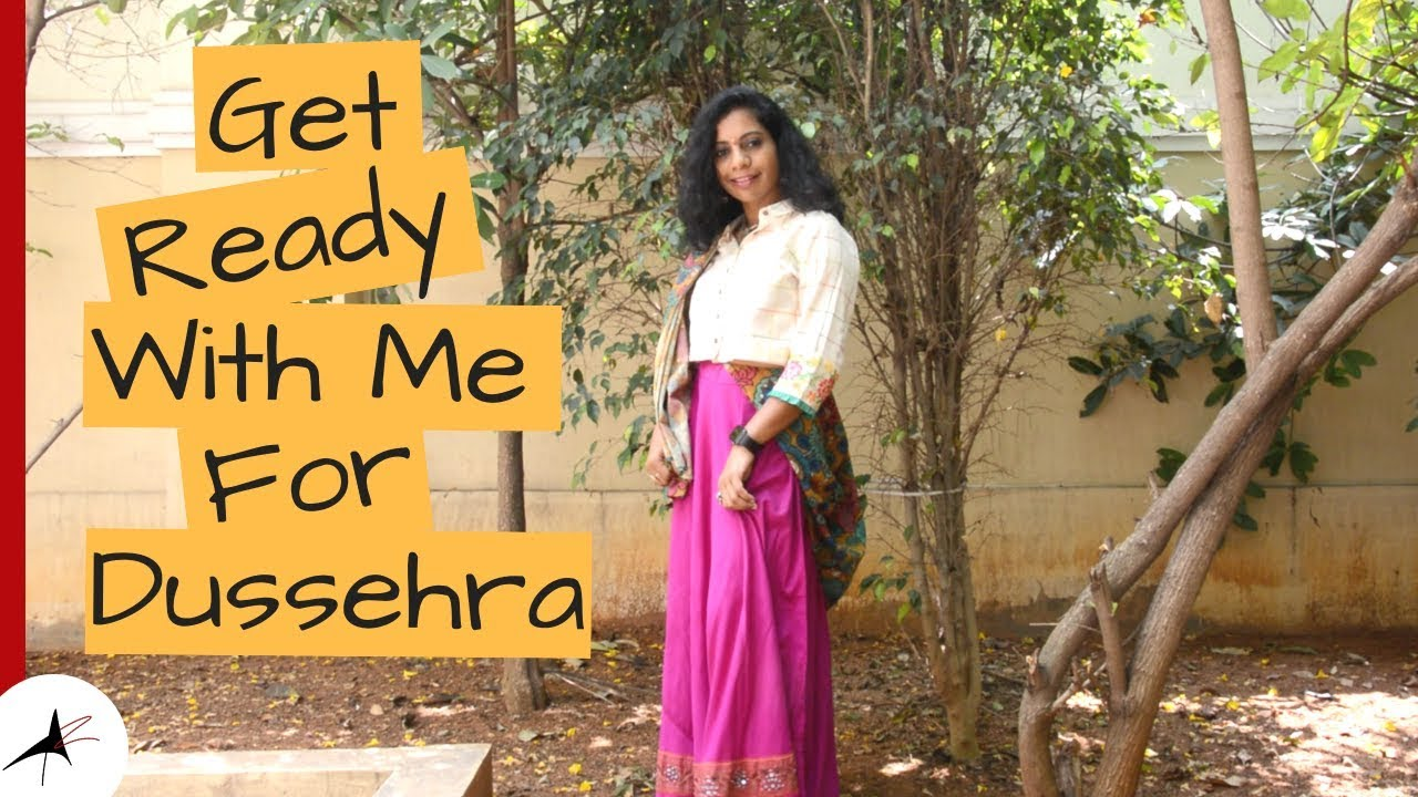 Get Ready With Me For Dussehra | Makeup & Outfit | Arpitharai