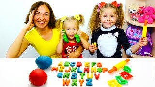 ABC Alphabet - Nadia and her family sculpt the English alphabet from plasticine