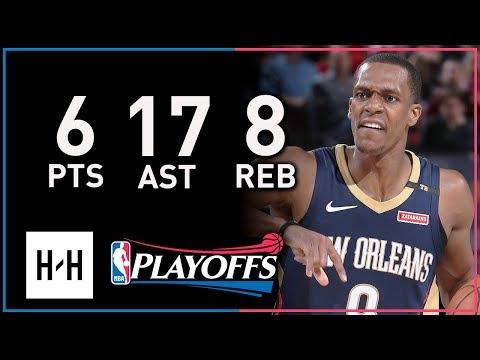 Rajon Rondo Full Game 1 Highlights Pelicans vs Blazers 2018 Playoffs - 6 Pts, 8 Reb, SICK 17 Assists