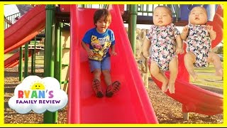 ryan twin sisters first time outside playground for kids family fun playing at the park