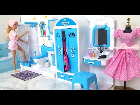 Barbie Bathroom Bedroom Morning Routine باربي دمية الحمام