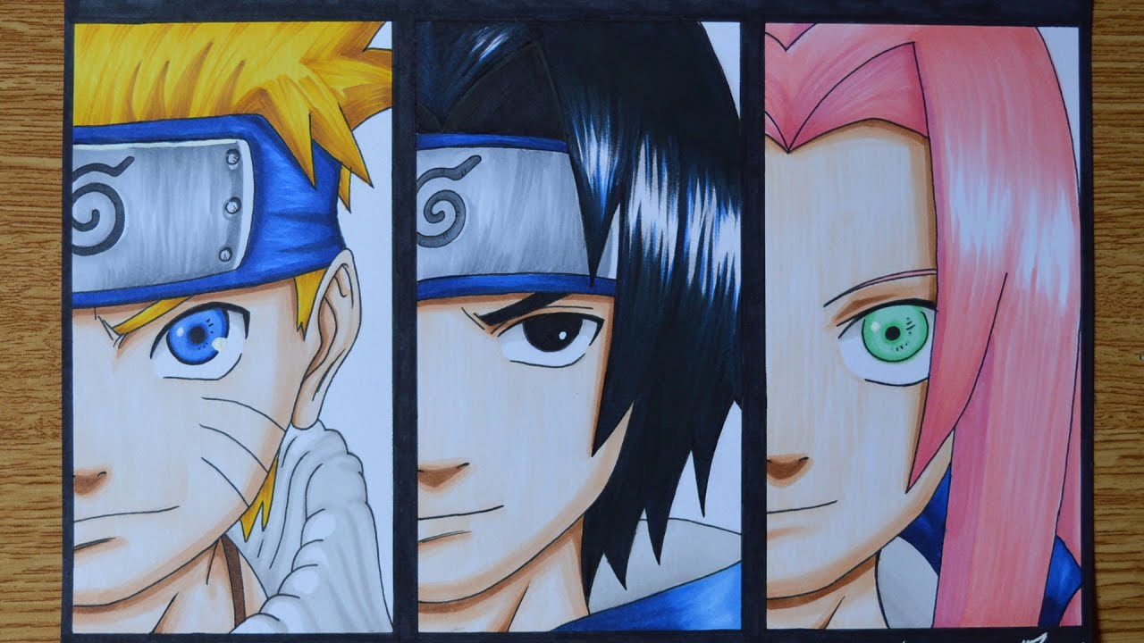Drawing Naruto, Sasuke and Sakura - YouTube Naruto And Sakura And Sasuke