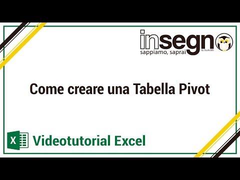 Excel Lezione 3 - Come creare una tabella pivot