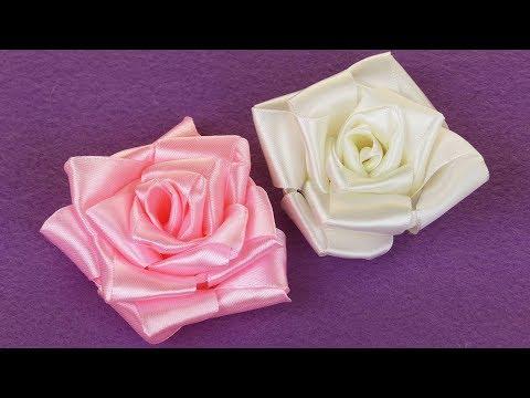 Diy Ribbon Rose I How To Make Easy Ribbon Flower I Kanzashi Rose