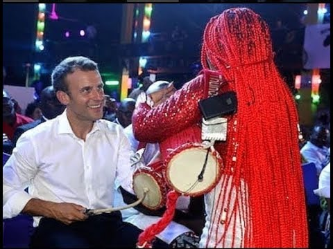 New Ara Drummer Girl Teaches President of France, Emmanuel Macron How To  Play Talking Drum