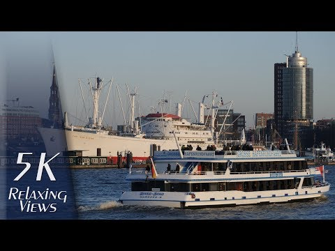 Hamburg, Germany: Harbour and city views from Steinwerder - 5K UHD Relaxing Video