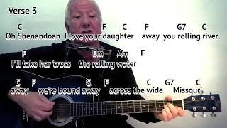Shenandoah - key C - easy chord guitar lesson with on-screen chords and lyrics - guitar/mouth organ