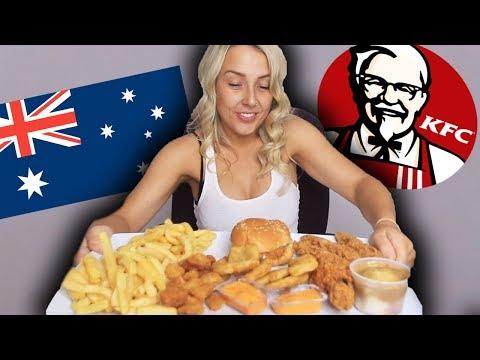 AUSTRALIAN GIRL TRIES KFC MUKBANG!! (eating show)