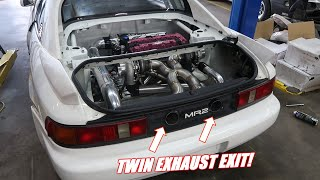 Twin Turbo Mr2 Gets a SICK Twin Exit Exhaust!