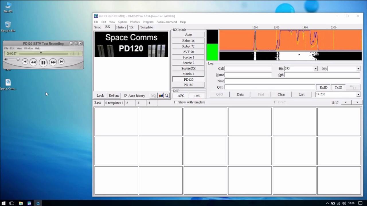 ISS-SSTV MMSSTV PD120 Test Recording setup