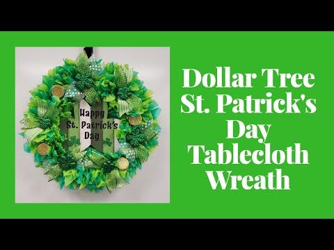 Dollar Tree St. Patrick's Day Tablecloth Wreath