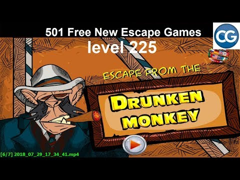 [Walkthrough] 501 Free New Escape Games level 225 - Escape from the drunken monkey - Complete Game