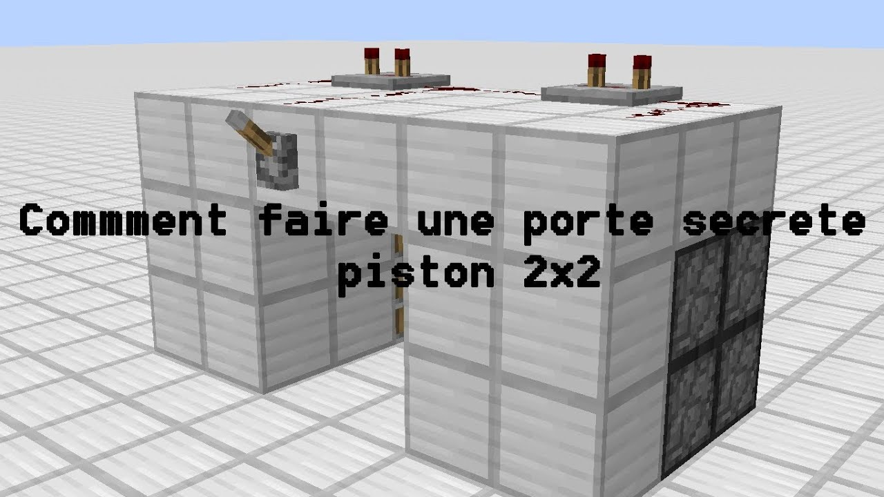 tuto minecraft comment faire une porte cacher rapidement piston 2x2 youtube. Black Bedroom Furniture Sets. Home Design Ideas