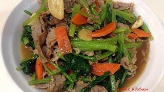 【字幕】油菜炒肉片   Stir-Fried Yu Choy And Pork   Chinese Cooking