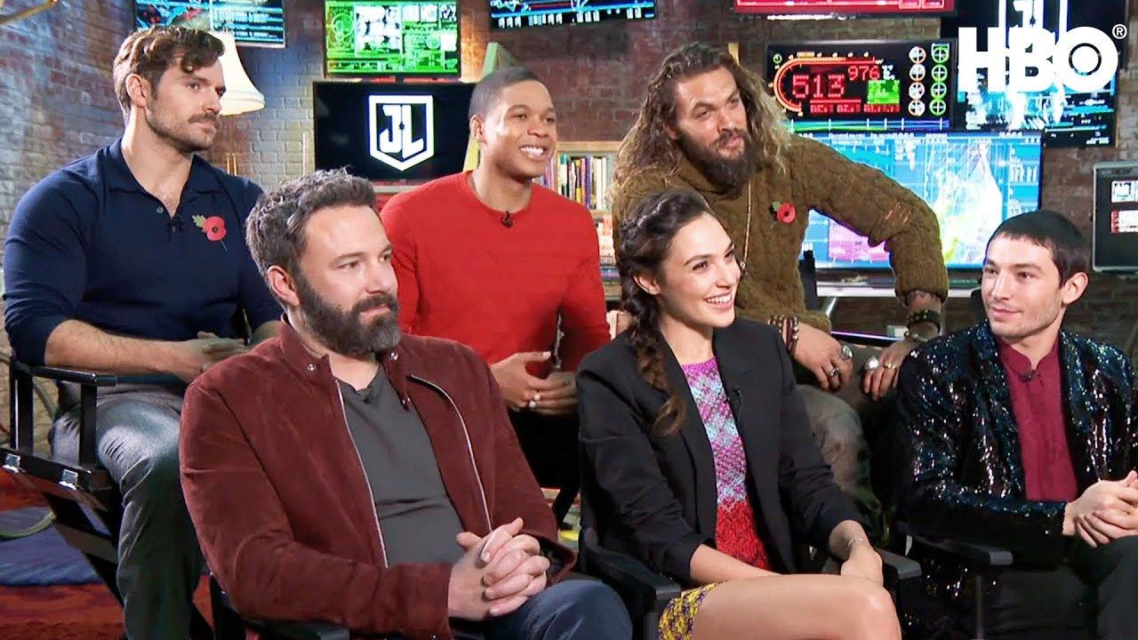 The Justice League Interview W Ben Affleck Gal Gadot Jason Momoa More November 15 2017 Hbo Jason Momoa Ben Affleck Justice League