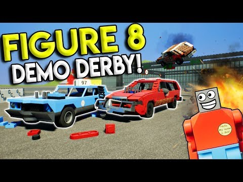LEGO FIGURE 8 DEMO DERBY RACE! -  Brick Rigs Multiplayer Challenge Gameplay - Lego Races & Crashes