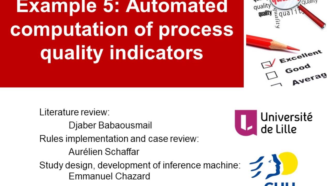 Exemple 5 : calcul automatisé d'indicateurs de qualité des ...