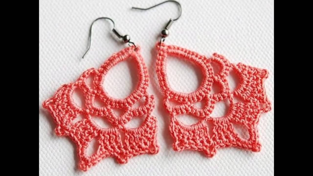 Elegantes aretes tejidos a crochet - YouTube