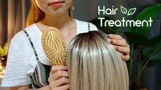 ASMR Sleepy Hair Treatment 👱♀ brushing, haircut, shampoo, scalp massage, argan oil