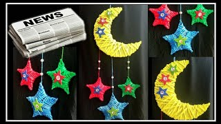 Newspaper Wall Hanging | Dream catcher Moon and Stars