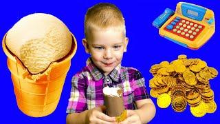 Детский магазин, касса, повар и много МОРОЖЕНОГО. Малыш как взрослый.