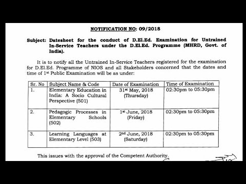 D el ed Final exam notice: Exam will be conduct from 31 may 2018 to 2 jun  2018