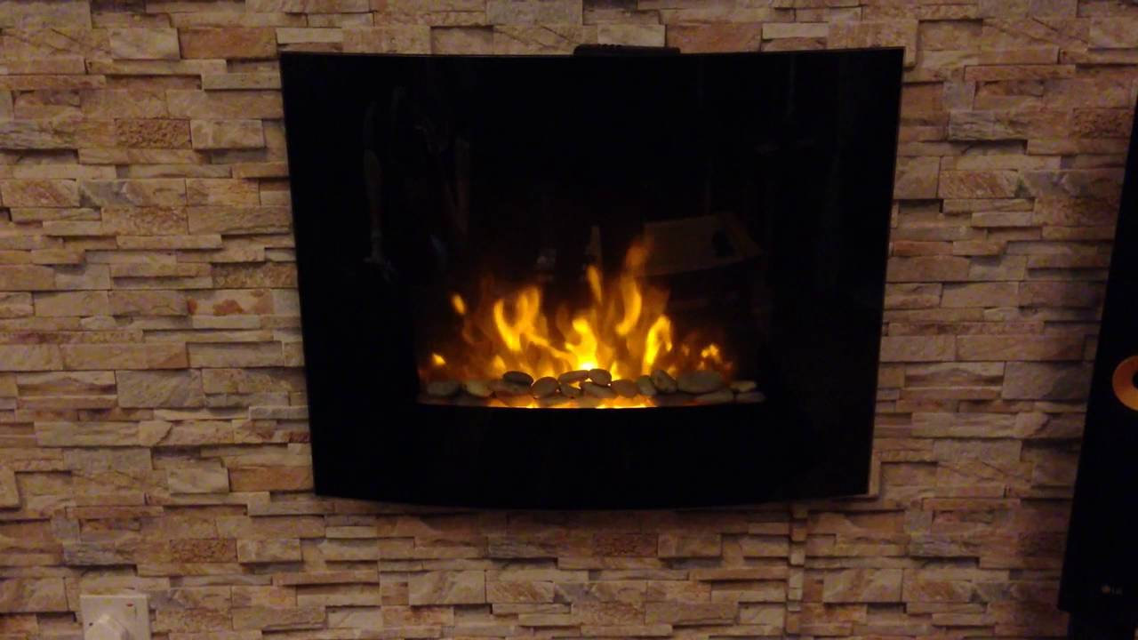 Curved Electric Fireplace Wall Mounted Electric Fire Fireplace Black Curved Glass Heater Flame Effect 1 8kw Led